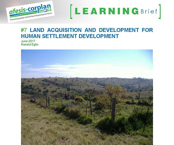 Learning Brief #7: Land acquisition and development for human settlement